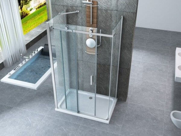 3 oldalas zuhanykabin tolóajtóval és 8 mm-es átlátszó üveggel