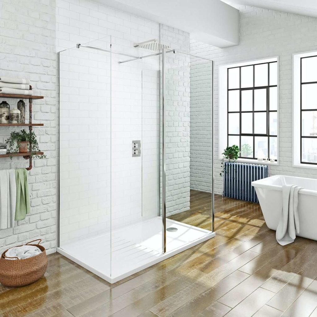 8 mm-es 3 oldalú besétálós zuhanykabin zuhanytálcával