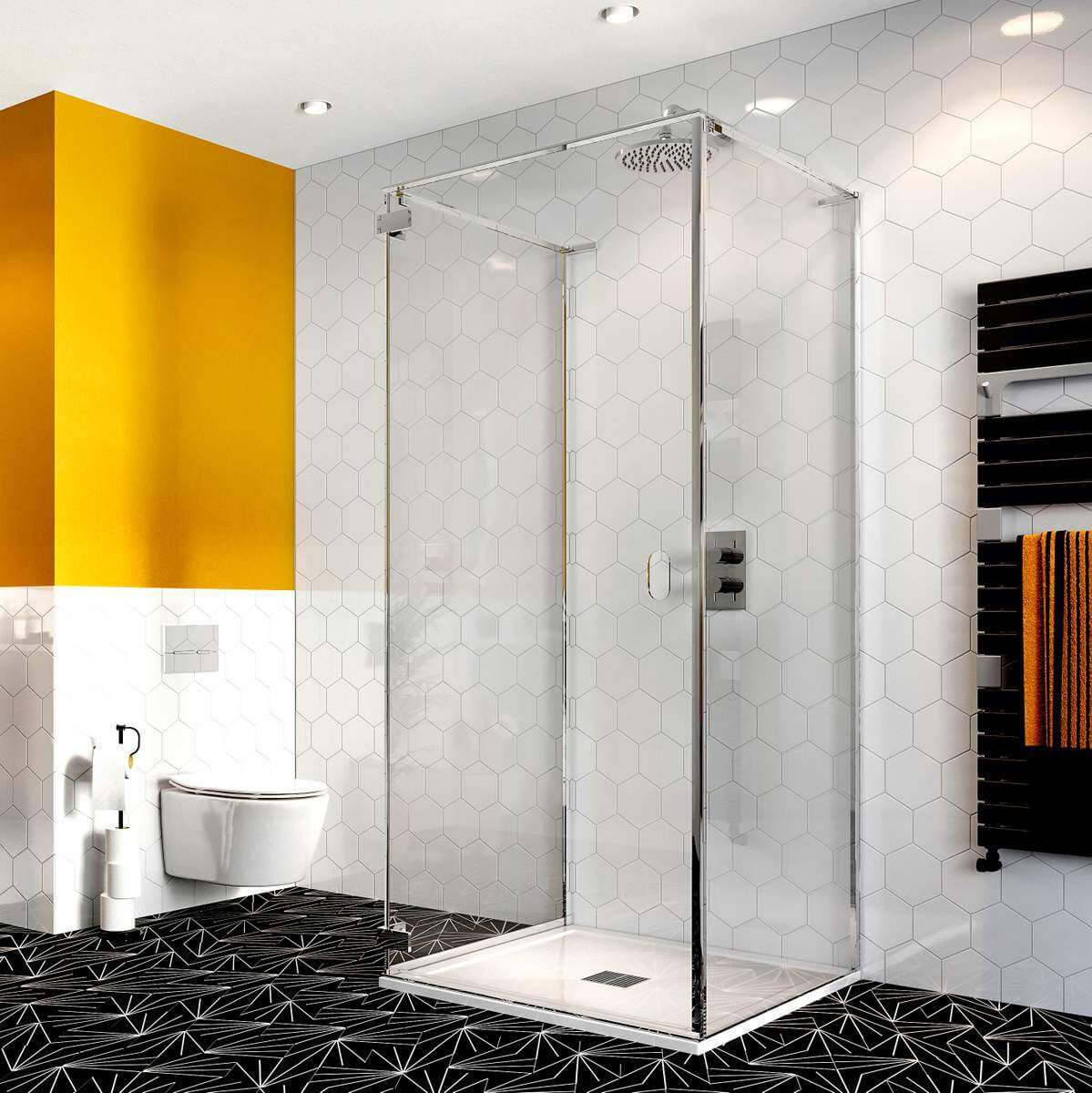 Zsanéros háromoldalú zuhanykabin